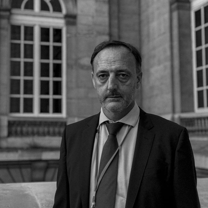 Christophe Molmy, chef de la Brigade de recherche et d'intervention (BRI) de Paris au moment des attentats du 13-Novembre, le 22 septembre 2021 au Palais de justice. (DAVID FRITZ-GOEPPINGER POUR FRANCEINFO)