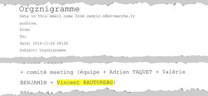 Extrait du projet d'organigramme de la campagne d'Emmanuel Macron. (Wikileaks / Cellule investigation Radio France)