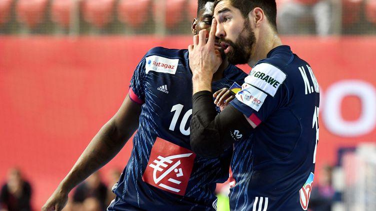 Nikola Karabatic et Dika Mem en discussion (STRINGER / AFP)