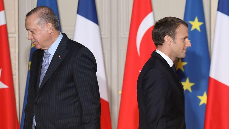 Le président turc Recep Tayyip Erdogan et le président français Emmanuel Macron, le 5 janvier 2018 à Paris. (LUDOVIC MARIN / AFP)