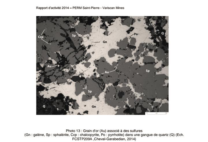 Une photo de grains d'or à Saint-Pierre-Montlimart (Maine-et-Loire) extraite du rapport 2014 de Variscan. (VARISCAN MINES)