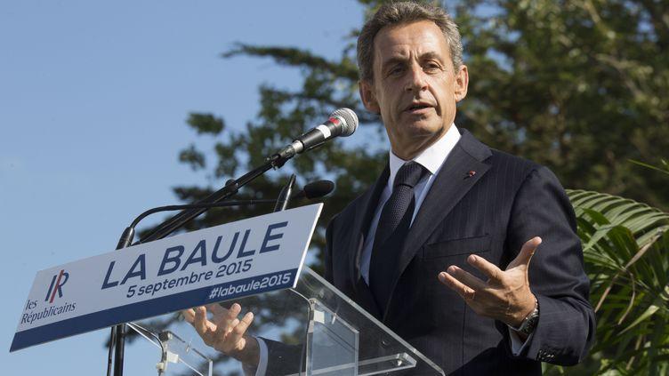 Le président des Républicains Nicolas Sarkozy lors d'un meeting à La Baule (Loire-Atlantique), le 5 septembre 2015. (CAROLINE PAUX / CITIZENSIDE.COM / AFP)