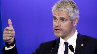 Laurent Wauquiez, le18 avril 2018, à Paris, au siège du parti Les Républicains. (VINCENT ISORE / MAXPPP)