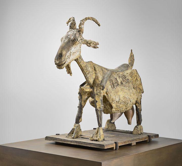 """Pablo Picasso, """"La Chèvre,"""" Vallauris, 1950, Feuille de palmier, métal et plâtre, Musée national Pablo Picasso, Dation Pablo Picasso, 1979  (Succession Picasso 2018)"""