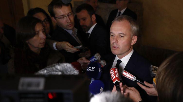 Le président de l'Assemblée nationale, François de Rugy, s'exprime devant les journalistes au palais Bourbon, le 29 novembre 2017. (PATRICK KOVARIK / AFP)