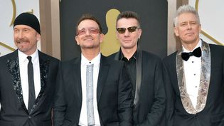 U2 aux Oscars le 2 mars 2014 à Los Angeles.  (Kevin Dietsch / Newscom / Sipa )