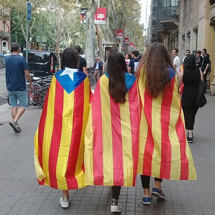 La foule rassemblée place de l'Université, à Barcelone (Espagne), le 3 occtobre 2017, à l'occasion de l'appel à la grève générale. (RAPHAEL GODET / FRANCEINFO)