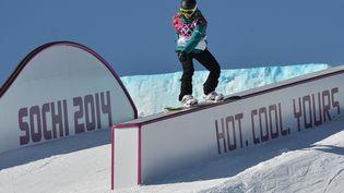 Une snowboardeuse s'entraîne, à Sotchi (Russie), le 4 février 2014. (RAMIL SITDIKOV / RIA NOVOSTI / AFP)