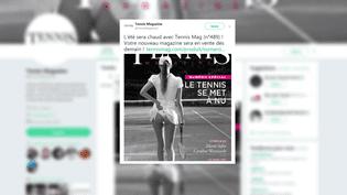 """La couverture de """"Tennis Mgazine"""", diffusée sur Twitter le 10 août 2017, a choqué les internautes. (TWITTER)"""