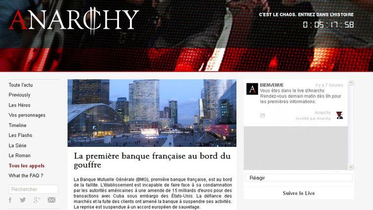 (La série Anarchy est accompagnée d'un site, avec vidéos, articles d'actualité... © TelFrance / France Télévisions)