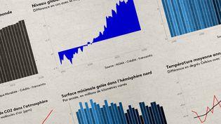 Franceinfo vous présente en graphiques l'évolution du climat depuis 30 ans (JESSICA KOMGUEN / FRANCEINFO)