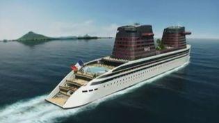 Un armateur veut construire un nouveau paquebot France encore plus grand et plus luxueux. Il y travaille depuis trois ans. La maquette en trois Capture d'écran France 2 12 juin 2012 ( FRANCE 2)