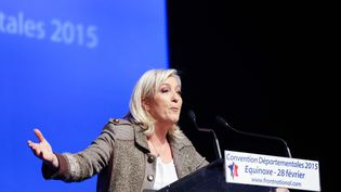 La présidente du Front national Marine Le Pen, lors d'une convention de son parti, le 28 février 2015, à Paris. (CITIZENSIDE / JALLAL SEDDIKI / AFP)