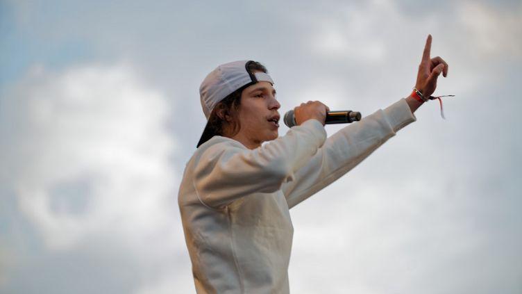 Le rappeur Moha la Squale, le 5 juillet 2018 à Paris. (DANIEL PIER / NURPHOTO / AFP)