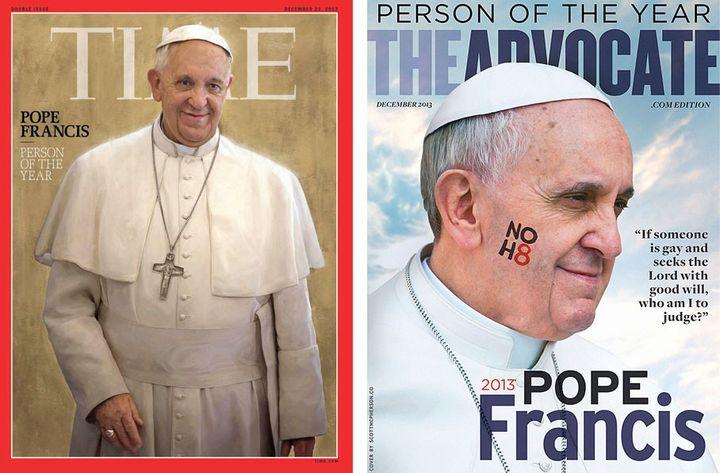 """Deux unes consacrant le pape François """"personne de l'année"""" en 2013. (DR)"""