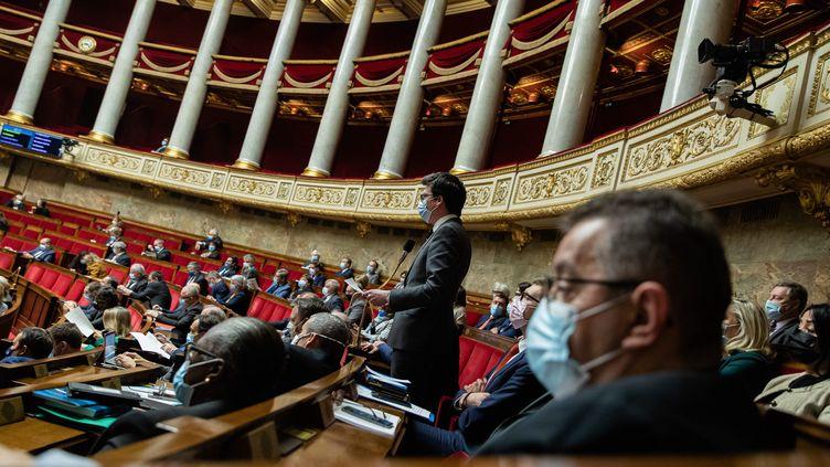 L'hémicycle de l'Assemblée nationale le 9 mars 2021. (AURELIEN MORISSARD / MAXPPP)