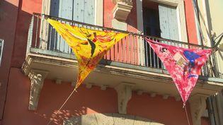 Des toiles grand format sont exposées dans les rues de Collioure. (FRANCEINFO)