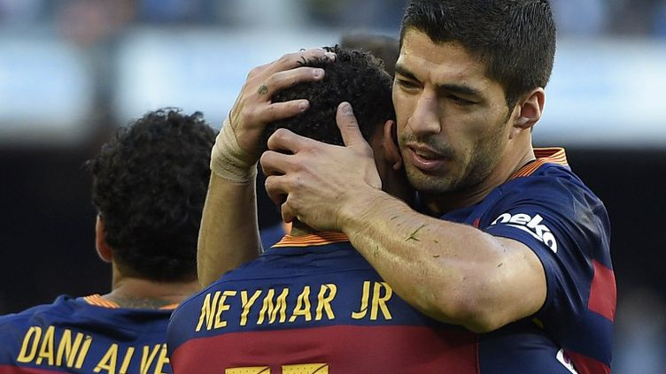 Encore une fois, Neymar et Luis Suarez, bien aidés par Leo Messi, ont été exceptionnels avec le Barça. (LLUIS GENE / AFP)
