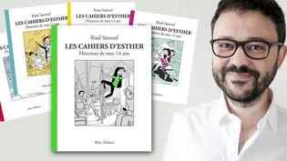 """L'auteur de bandes dessinées Riad Sattouf et les couvertures des 5 tomes des """"Cahiers d'Esther"""" (Renaud Monfourn / Allary Editions)"""