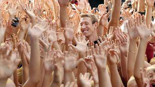 Le champion olympique de natation Alain Bernard, lors de son arrivé à la piscine d'Aubagne rebaptisée en son nom en 2008. (ANNE-CHRISTINE POUJOULAT / AFP)