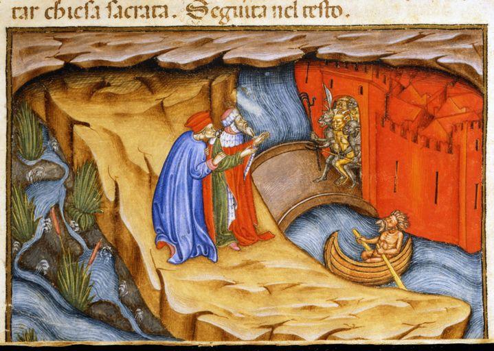 """Manuscrit enluminé du 15e siècleillustrant une scène de L'Enfer de """"La divine comédie"""", le chef d'oeuvre de Dante (1265-1321). (ALFREDO DAGLI ORTI / AFP)"""
