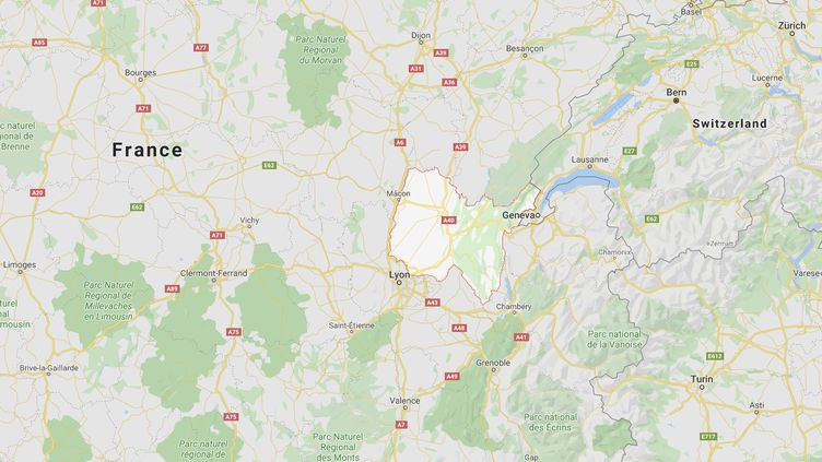 Capture d'écran de Google Maps montrant le département de l'Ain où un foyer de cas d'encéphalite à tiques détecté. (GOOGLE MAPS)