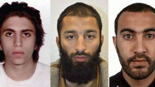 Les trois hommes identifiés par la police britannique comme les assaillants tués lors de l'attentat de Londres (Royaume-Uni) du 3 juin 2017. (METROPOLITAN POLICE / AFP)