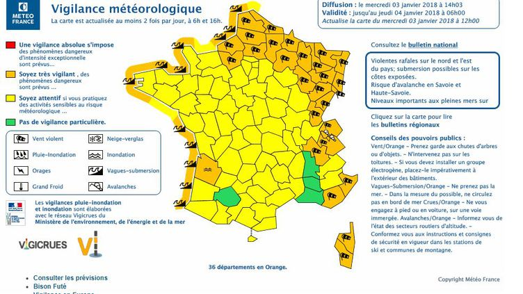 Meteo France a placé 36 départements en vigilance orange dans le cadre de la tempête Eleanor, le 3 janvier 2018. (METEO FRANCE)