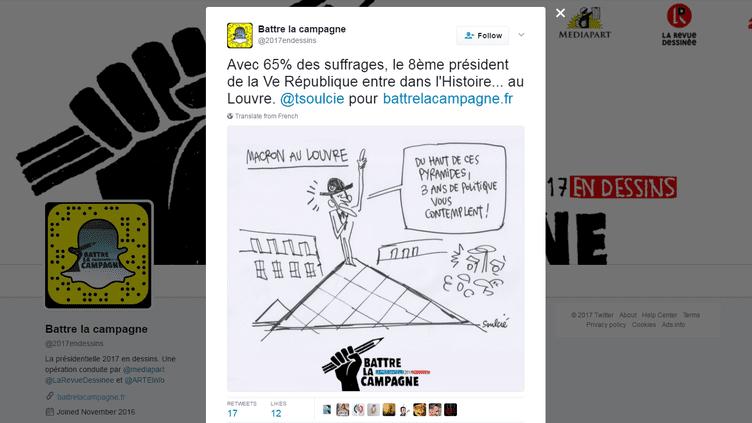 """Capture d'écran du dessin de Soulcié, pour """"battre la campagne"""", publié le 7 mai 2017. (SOULCIE / BATTRE LA CAMPAGNE /TWITTER)"""