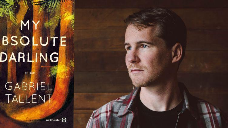 "L'auteur américain Gabriel Tallent et son roman ""My Absolute Darling"" édité chez Gallmeister.  (Photo Alex Adams / Gallmeister)"