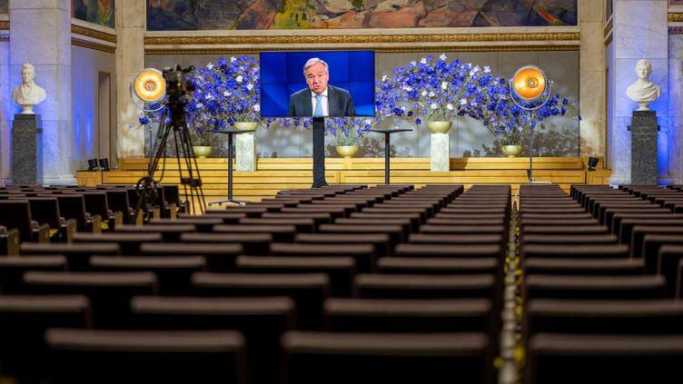 Le secrétaire général de l'ONU, Antonio Guterres, le 11 décembre 2020 à Oslo, lors d'une prise de parole à l'occasion Forum du Prix Nobel de la paix. (HEIKO JUNGE / NTB / AFP)