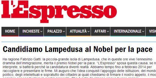 L'Appel de l'Espresso pour que Lampedusa obtienne le prix Nobel de la paix (Espresso)