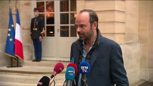 Le Premier ministre Edouard Philippe à Matignon, le 8 octobre 2017. (FRANCEINFO)