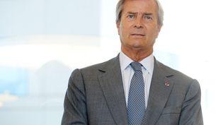 Le patron du groupe Vivendi, Vincent Bolloré, lors d'une conférence de presse à La Défense (Hauts-de-Seine), le 21 avril 2017. (ERIC PIERMONT / AFP)