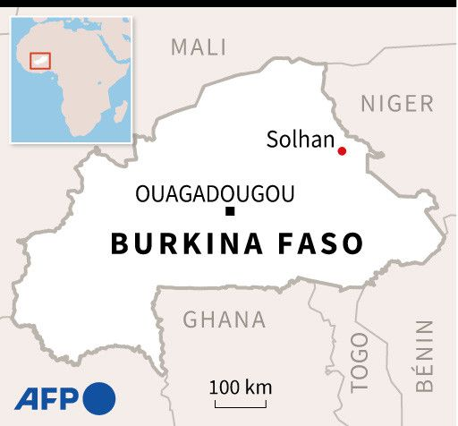La carte du Burkina Faso avec au nord-est le village de Solhan, l'une des cibles des attaques terroristes du 4 juin 2021. (PAZ PIZARRO, CLÉA PÉCULIER / AFP)