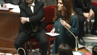 Marlène Schiappa, secrétaire d'Etat chargé de l'égalité entre les femmes et les hommes et de la lutte contre la discrimination pendant une séance de questions au gouvernement. (JACQUES DEMARTHON / AFP)