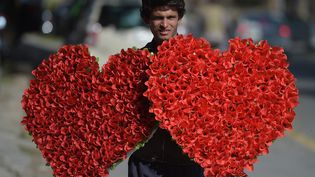 Un vendeur de fleurs dans une rue d'Islamabad au Pakistan, le 13 février 2017. (AAMIR QURESHI / AFP)