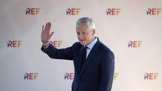 Le ministre de l'Economie et des Finances, Bruno Le Maire, lorsde la Rencontre des entrepreneurs de France du Medef, à l'hippodrome de Longchamp, à Paris, le 25 août 2021. (ERIC PIERMONT / AFP)