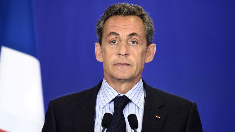 L'ancien chef de l'Etat et actuel président de l'UMP Nicolas Sarkozy prononce son discours, à Paris, le 7 Janvier 2015. (ERIC FEFERBERG / AFP)