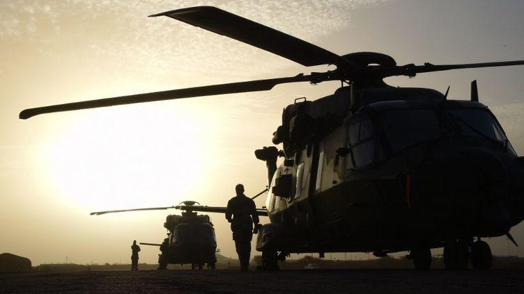 Des hélicoptères français stationnés sur la base de Goa, au Mali, dans le cadre de l'opération Barkhane, le 2 janvier 2015. (DOMINIQUE FAGET / AFP)