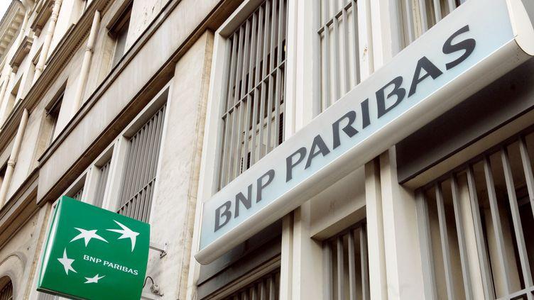 Photo d'illustration d'une banque BNP Paribas. (ERIC PIERMONT / AFP)