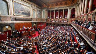 Emmanuel Macron prononce un discours devant le Parlement réuni à Versailles (Yvelines), le 9 juillet 2018. (AFP)