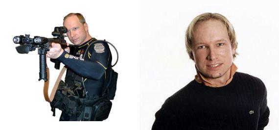 Photos d'Anders Berhing Breivik diffusées après ses attentats en juillet 2011. (AFP / MONTAGE FTVI)