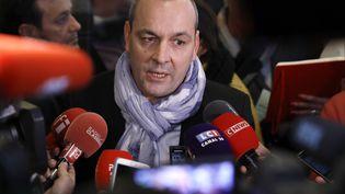 Le secrétaire général de la CFDT Laurent Berger face à la presse, le 11 décembre 2019 à Paris. (THOMAS SAMSON / AFP)