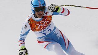 L'Autrichien Matthias Mayer a été sacré champion olympique de descente le 9 février 2014, lors de l'épreuve reine du ski alpin masculin aux JO de Sotchi (Russie). (MIKE SEGAR / REUTERS)