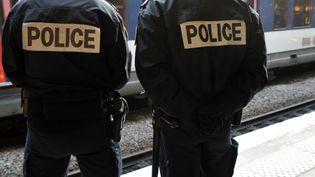 Des policiers sur un quai de la ligne B du RER, à Denfert-Rochereau à Paris, le 3 février 2009. (FRANCETV INFO)