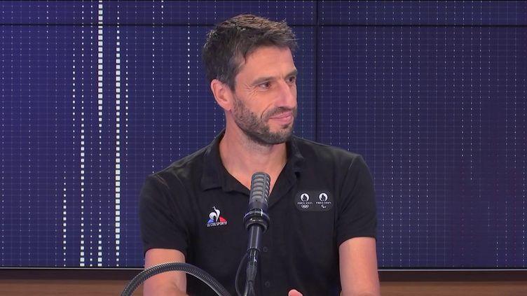 Tony Estanguet, président du comité d'organisation des Jeux Olympiques et Paralympiques de Paris 2024, invité de franceinfo le 5 septembre 2021. (CAPTURE ECRAN / FRANCEINFO)