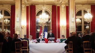 Emmanuel Macron, le 19 mars 2018, lors d'un dîner d'Etat donné en l'honneur du grand-duc du Luxembourg à l'Elysée (Paris). (BENOIT TESSIER / POOL)