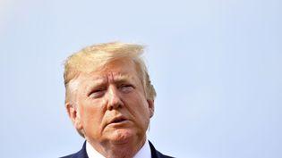Donald Trump lors d'une conférence de presse à Morristown, dans le New Jersey (Etats-Unis), le 18 août 2019. (NICHOLAS KAMM / AFP)