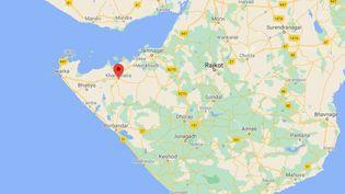 Situation géographiquede la localité de Khambhaliya, dans l'Etat du Gujarat (Inde). (GOOGLE MAPS)